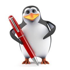 Cute penguin with pen