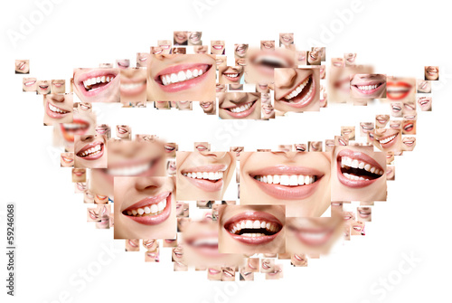 Smile collage of perfect smiling faces closeup. Conceptual set o