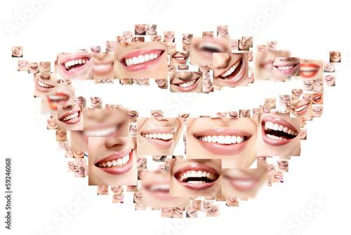 Fototapeta Smile collage of perfect smiling faces closeup. Conceptual set o