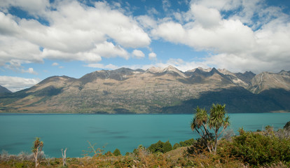 Scenic view of Lake Wakatipu, Glenorchy Queenstown Road, South I