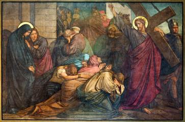 Antwerp - Jesus meets the women of Jerusalems - fresco