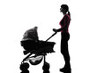 woman prams baby looking up silhouette