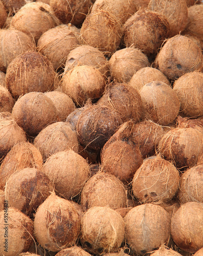 A Fun Fair Display of Coconuts for Sale.