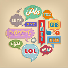 Comic bubbles with popular Acronyms & Abbreviations