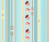 Sweet cake seamless background with vertical stripes. Vector