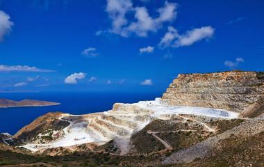 Marble quarry near village Mochlos, Crete, Greece.
