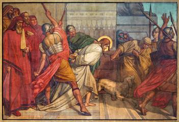 Antwerp - Fresco of bondage of Jesus in Joriskerk