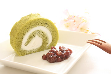 japanese confectionery, green tea swiss roll