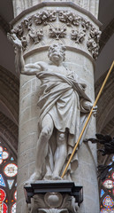 Brussels -  Statue of st. Thomas the apostle in cathedral