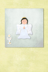 Cute Angel first communion invitation card