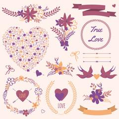 Vector wedding set with bouquets, birds, hearts, arrows, ribbons