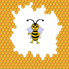 A funny cartoon bee surrounded by honeycombs