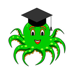 A funny cartoon octopus in a magister cap