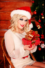 Sexy girl in santa hat
