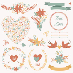 Vector wedding set with bouquets, birds, hearts, arrows, ribbons