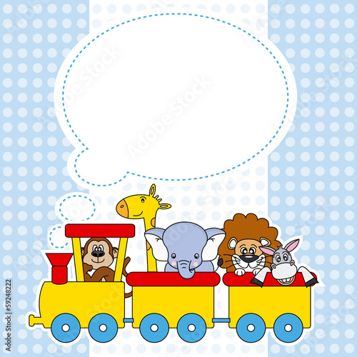 Children train with animals. birthday Card
