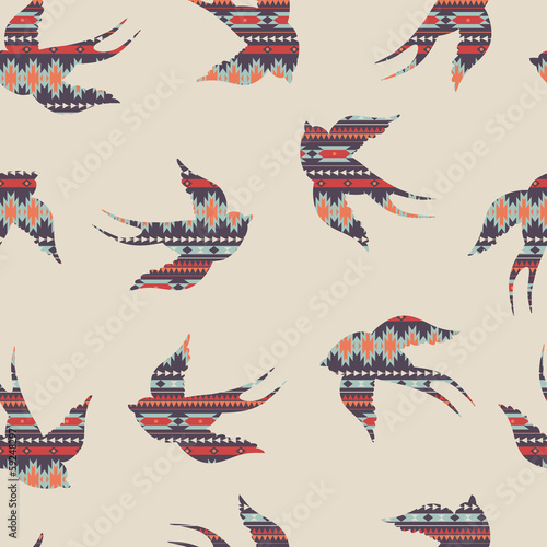 Vector seamless colorful decorative ethnic pattern with swallows - 59248297