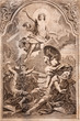 Resurrection of Jesus - old Lithography from year 1727