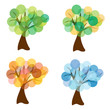 set of vector four seasons trees