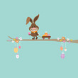 Bunny On Tree Handcart Easter Eggs Retro