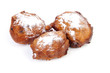 Three Dutch donut also known as oliebollen, traditional New Year