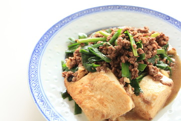 chinese food, mince pork and tofu stir fried