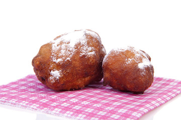 Two Dutch donut also known as oliebol, traditional New Year's ev