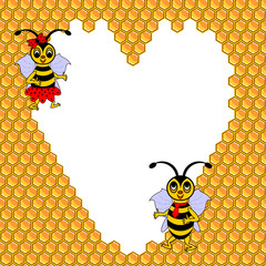 A couple of two funny cartoon bees with a heart surrounded by ho
