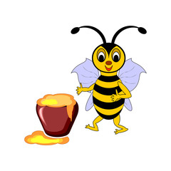 A funny cartoon bee with a pot of honey