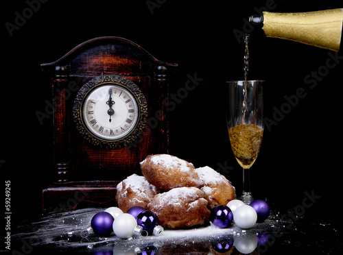 Dutch donut also known as oliebollen, traditional New Year's eve