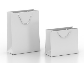 two white package with handles in the 3-d visualization