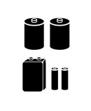 Set of batteries type icons isolated white background vector