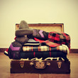 warming clothes in a suitcase
