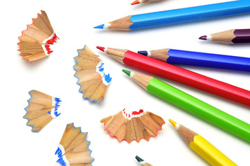 sharpening colored pencils