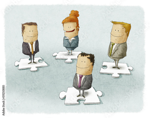 Business people pieces puzzle
