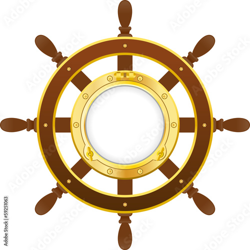 ship wheel with porthole