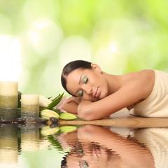 beautiful young woman lying relaxed