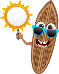 surf board character series 2 - with sun banner