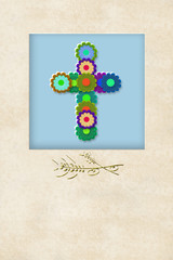 cheerful flowers cross communion invitation card