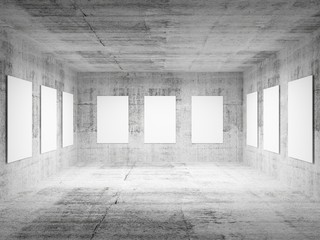 Empty art gallery concrete hall 3d interior