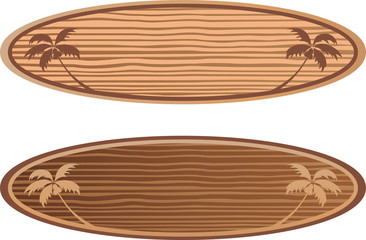 wooden surf boards with hawaii concept