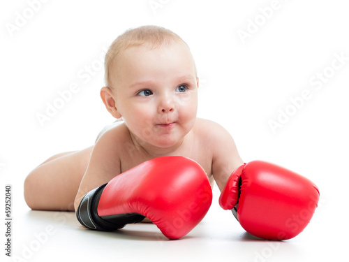 baby boy boxer isolated on white