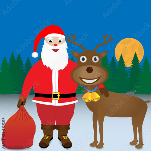 Santa with his arm around a reindeer.