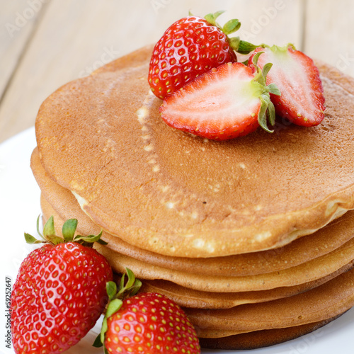 Ready to eat pancakes with strawberry