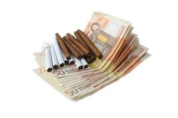 euro bills and cigarette