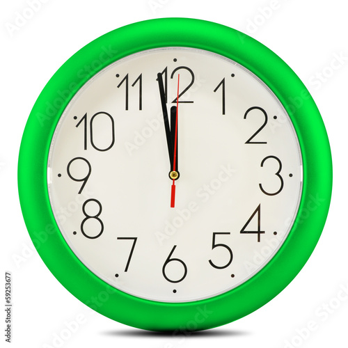 Wall clock isolated on white background. Twelve o'clock