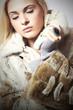 Beauty blond Model Girl in Mink Fur Coat.Beautiful Woman