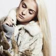 Beautyful blond woman Girl in Mink Fur Coat.winter fashion