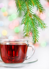 Christmas tea and fir branch
