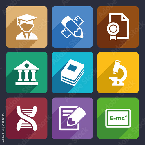 School and education flat icons set 25